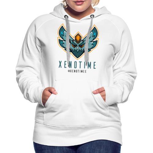 Logo + Texte + Tag + Bleu - Sweat-shirt à capuche Premium pour femmes