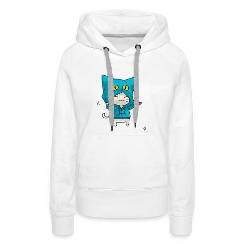 Gato con traje azul - Sudadera con capucha premium para mujer