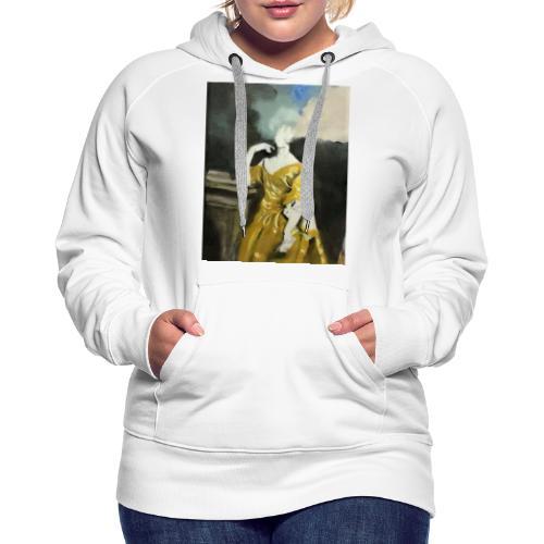 Donna sognatrice, in giallo. Arte da indossare. - Felpa con cappuccio premium da donna