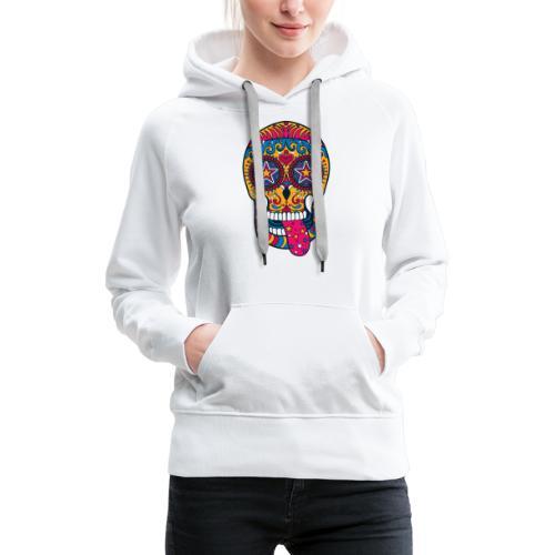 Mexican Skull - Felpa con cappuccio premium da donna