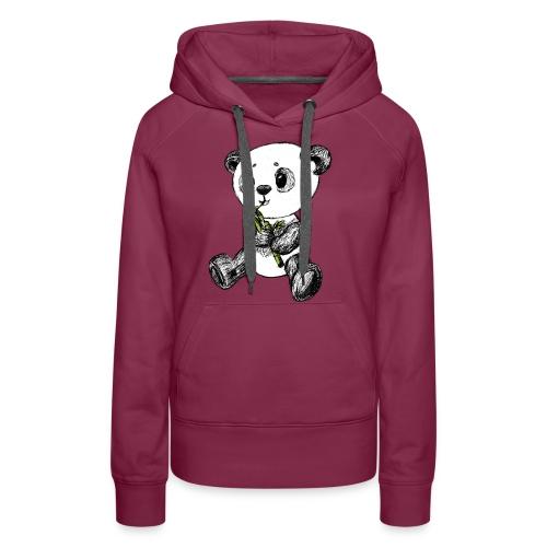Panda bjørn farvet scribblesirii - Dame Premium hættetrøje