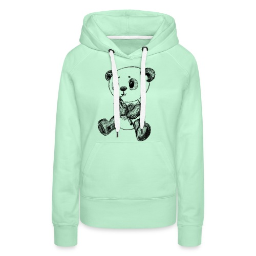 Panda bjørn sort scribblesirii - Dame Premium hættetrøje