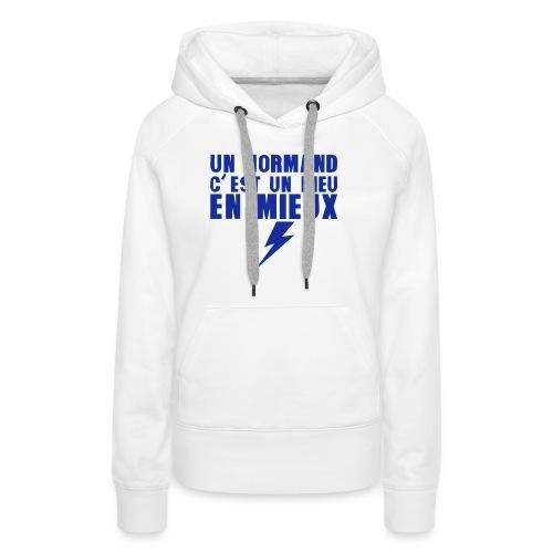 un normand dieu en mieux foudre - Sweat-shirt à capuche Premium pour femmes