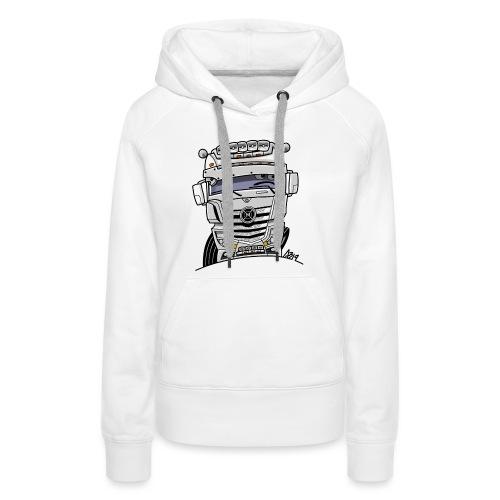 0807 M truck wit - Vrouwen Premium hoodie