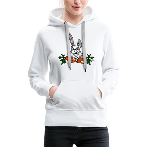 Lapin avec carottes, végétarien, végan - Sweat-shirt à capuche Premium pour femmes