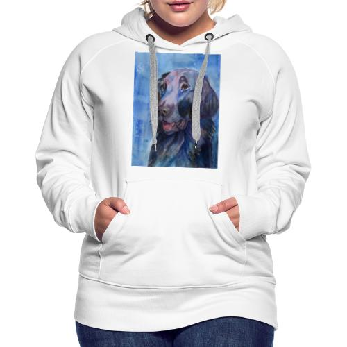 flatcoated retriever - watercolor - Dame Premium hættetrøje