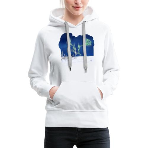 hiver avec des aurores boréales - Sweat-shirt à capuche Premium pour femmes