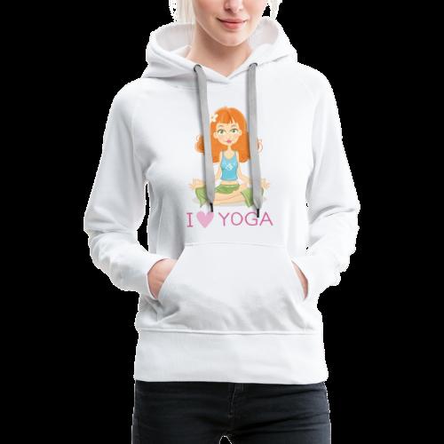 Yoga Lotus Pose Cartoon Girl - Frauen Premium Hoodie