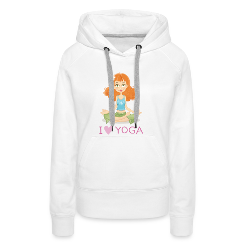 Yoga Lotus Pose Cartoon Girl - Frauen Premium Hoodie