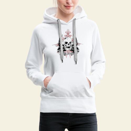 Grunge Rock N' Roll Skull - Dame Premium hættetrøje
