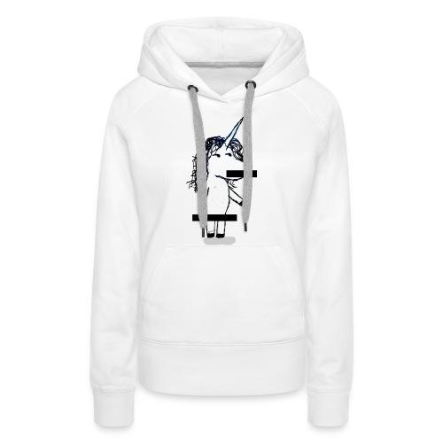 unicorno Censored - Felpa con cappuccio premium da donna