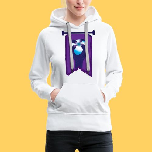 Purple banner with DRAGON fist and orb - Women's Premium Hoodie