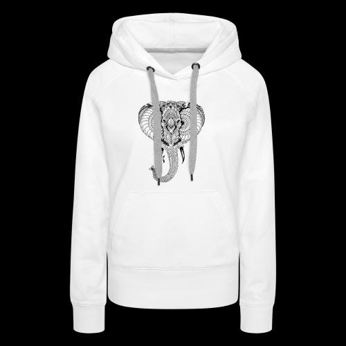 Elephant stylisé - Sweat-shirt à capuche Premium pour femmes