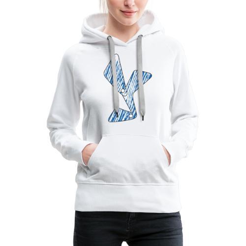 lettera Y blu - Felpa con cappuccio premium da donna