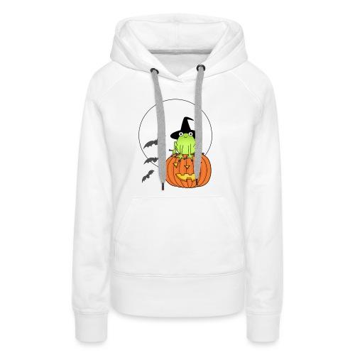 frog on pumpkin - Women's Premium Hoodie