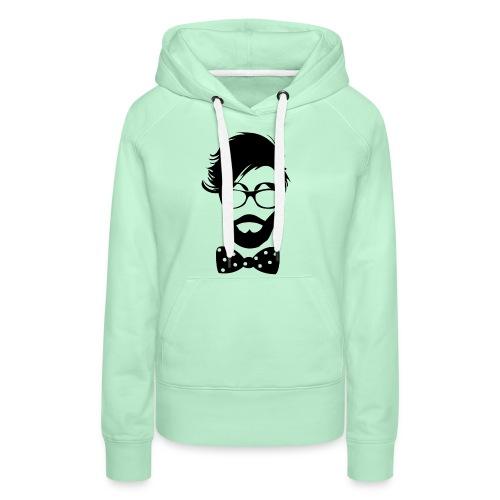 hipster_med_briller_og_butterfly - Dame Premium hættetrøje