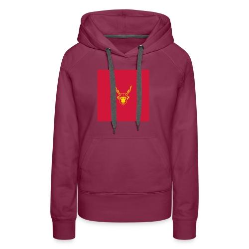 scimmiacervo sfondo rosso - Felpa con cappuccio premium da donna