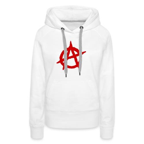 Anarchy logo rosso - Felpa con cappuccio premium da donna