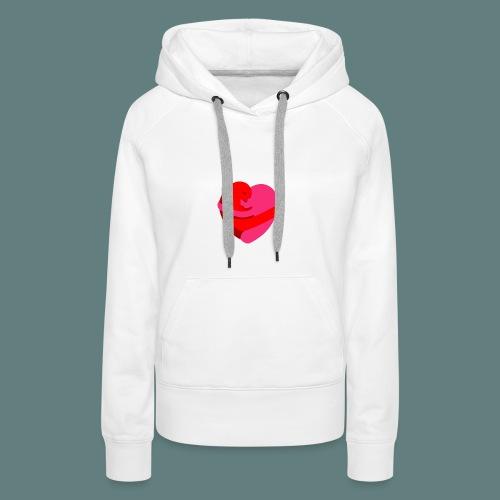 hearts hug - Felpa con cappuccio premium da donna