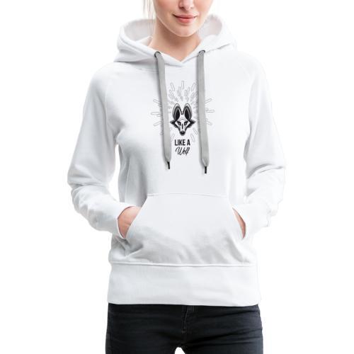 loup gris - Sweat-shirt à capuche Premium pour femmes