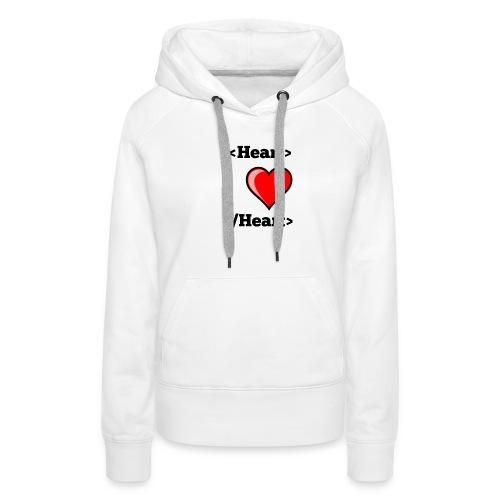 Html Heart - Sweat-shirt à capuche Premium pour femmes