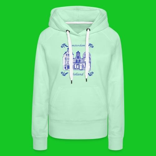 Holland Grachtenpanden Delfts Blauw - Vrouwen Premium hoodie