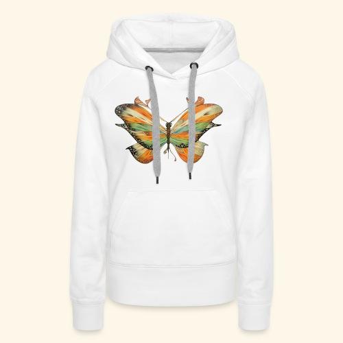 grande farfalla colorata - Felpa con cappuccio premium da donna