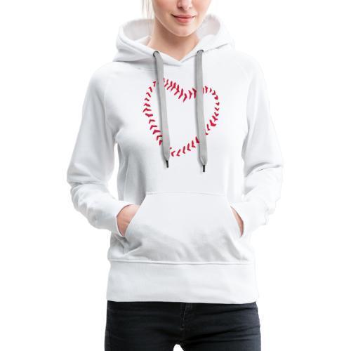 2581172 1029128891 Baseball Heart Of Seams - Women's Premium Hoodie