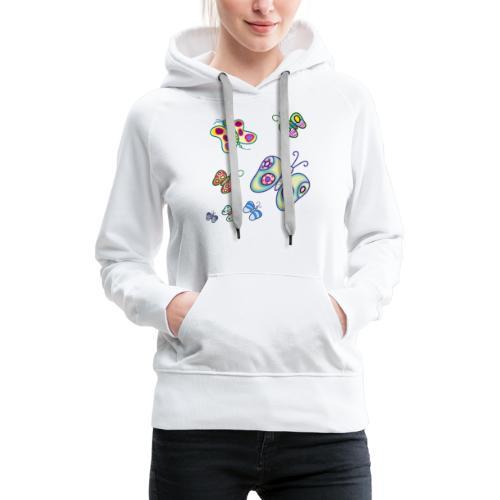 Allegria di farfalle - Felpa con cappuccio premium da donna