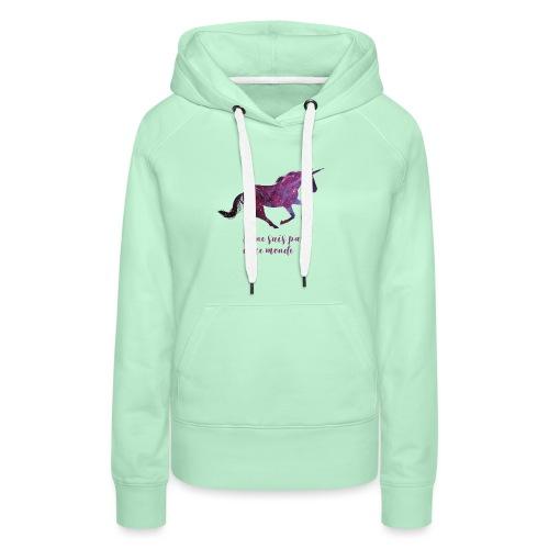 La licorne cosmique - Sweat-shirt à capuche Premium pour femmes