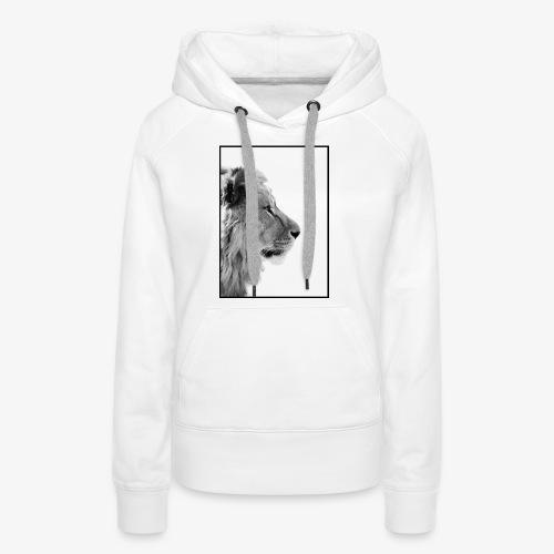 Beeindruckendes schwarz-weiß Löwe - Frauen Premium Hoodie