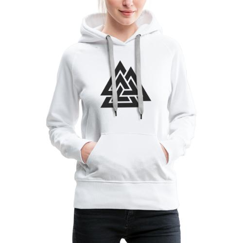 Valknut. Símbolo vikingo - Sudadera con capucha premium para mujer