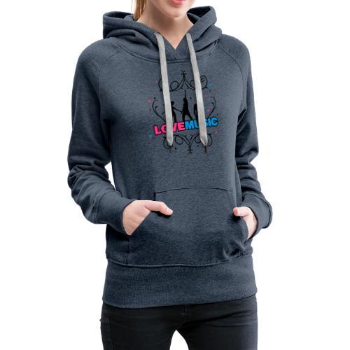 Motif Love Music - Sweat-shirt à capuche Premium pour femmes