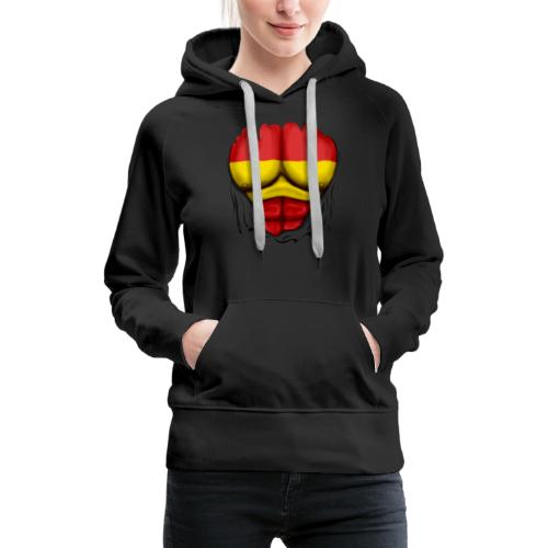 España Flag Ripped Muscles six pack chest t-shirt - Women's Premium Hoodie