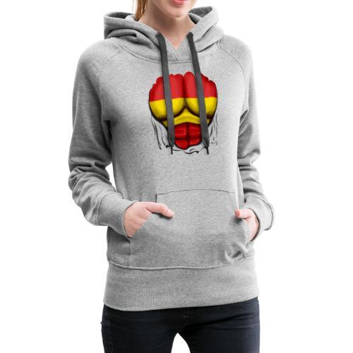 España Flag Ripped Muscles six pack chest t-shirt - Women's Premium Hoodie