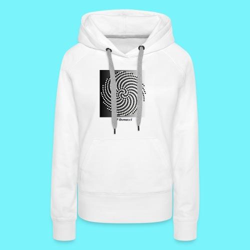 Fibonacci spiral pattern in black and white - Women's Premium Hoodie