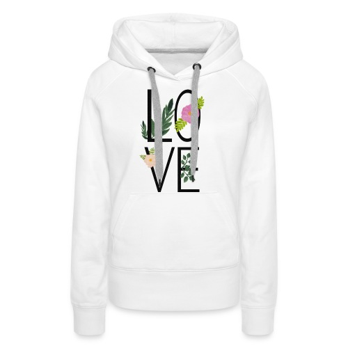 Love Sign with flowers - Women's Premium Hoodie
