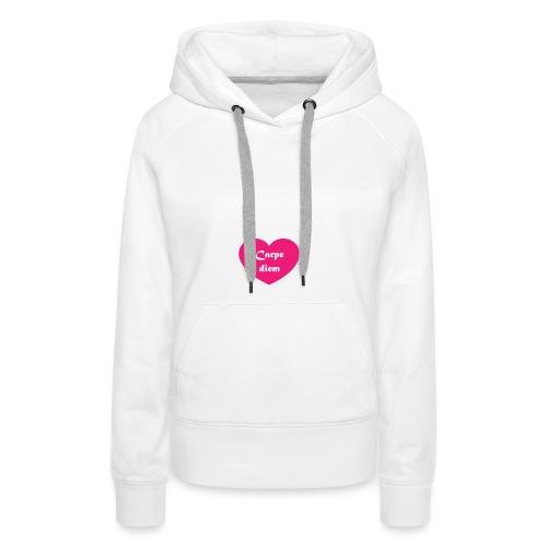 Spread shirt hjärta carpe diem vit text - Premiumluvtröja dam
