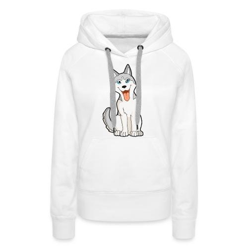 Husky grigio occhi azzurri - Felpa con cappuccio premium da donna