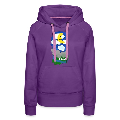 smiling moon and funny sheep - Women's Premium Hoodie