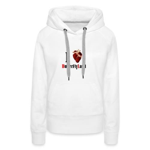 I love Butterflyland - Sweat-shirt à capuche Premium pour femmes