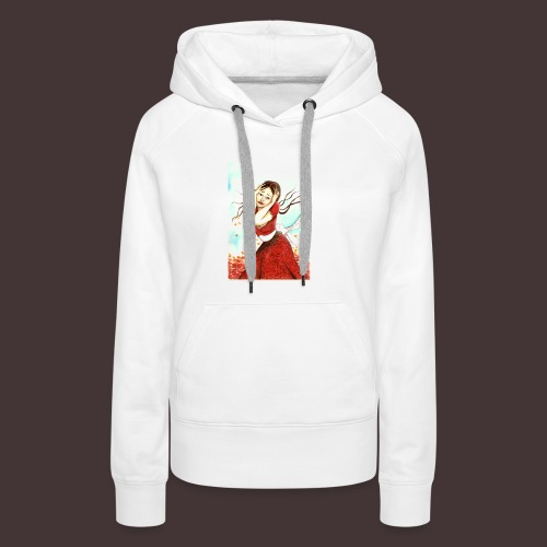 jeune femme saisie par l'émotion, cheveux au vent - Sweat-shirt à capuche Premium pour femmes