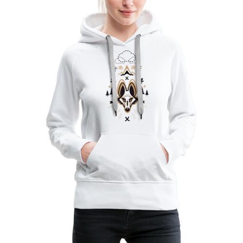 loup or - Sweat-shirt à capuche Premium pour femmes