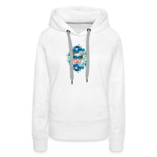mujer floral - Sudadera con capucha premium para mujer