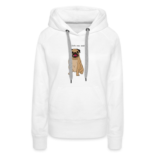 2girls one pug - Sweat-shirt à capuche Premium pour femmes