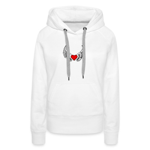 corazon-bonito-para-imprimir-png - Sudadera con capucha premium para mujer