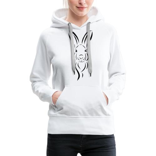 Hase Kopf Illustrartion Feldhase Löffel - Frauen Premium Hoodie
