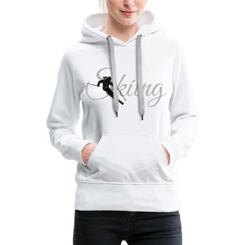 Skiing Skifahrerin (Grau) Wintersport Apres-Ski - Frauen Premium Hoodie