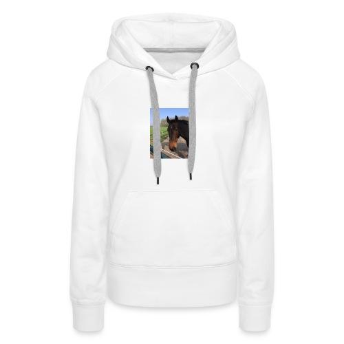 Met bruin paard bedrukt - Vrouwen Premium hoodie