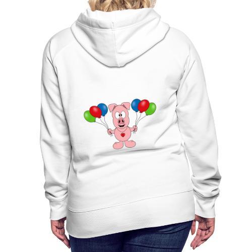 Lustiges Schwein - Luftballons - Geburtstag - Kids - Frauen Premium Hoodie